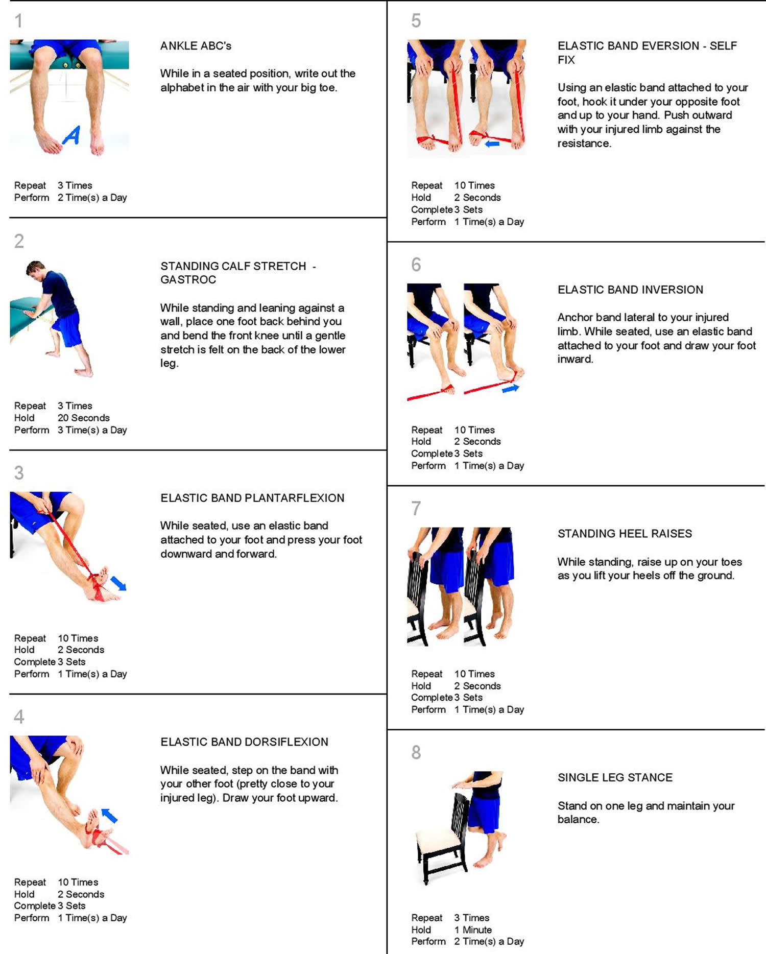Sprained ankle exercises